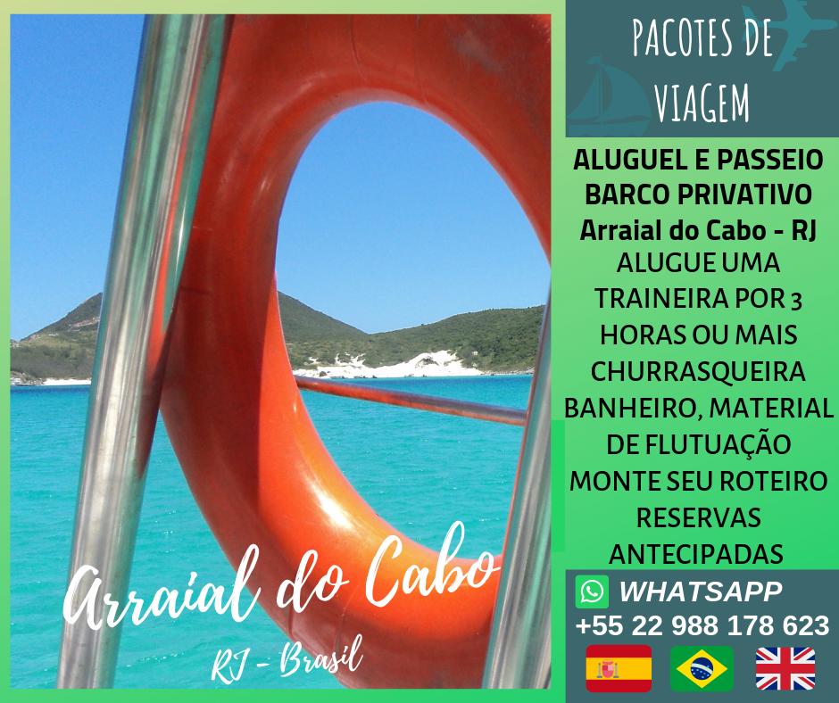 Aluguel de barco privado em Arraial do Cabo-RJ