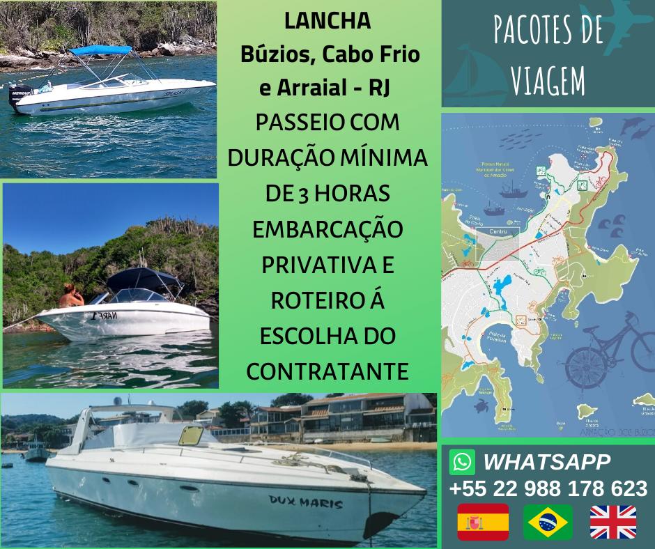 Passeio de Lancha em Búzios, Cabo Frio e Arraial - RJ